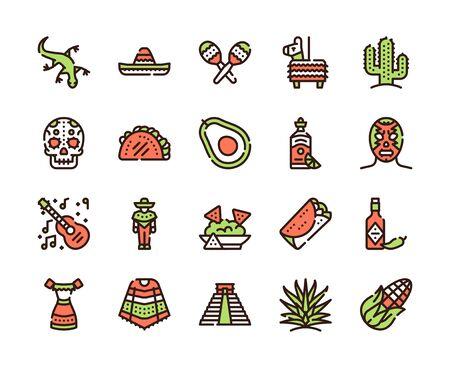 Mexico items color linear icons set. Mexican culture concept. Muerto, sombrero, lucha libre symbols pack. Pinata, tekila, taco design elements. Maracas, guitara, poncho. 向量圖像