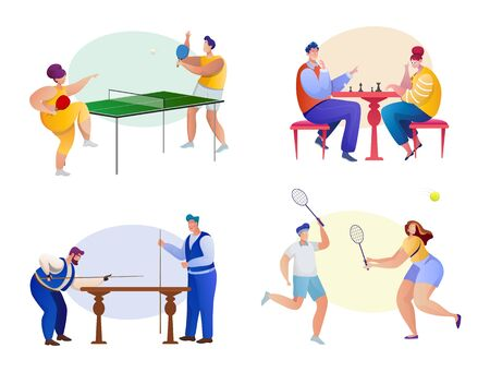 Sport flat illustrations set. Sportsmen cartoon characters. Active lifestyle. Tennis, chess, badminton, billiard. Fitness, cardio, cuesports, game of skill. Sportive tournament concept