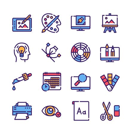Graphic design studio color linear icons set. Painting and drawing hobby, print shop service contour symbols. Traditional and modern artist accessories outline vector illustrations pack Vetores