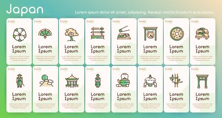 Japan items color linear icons set. Japanese culture concept. Bonsai, origami, samurai symbols pack. Maneki neko. Sumo, sushi, sakura design elements. Isolated vector illustrations