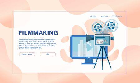 Cinema industry flat vector illustration. Movie director, cameraman, sound engineer and actress cartoon characters. Action film, advertisement shooting process. Show business, entertainment concept Illusztráció