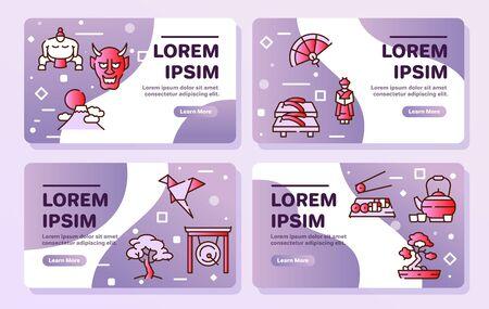 Japan items color linear icons set. Japanese culture concept. Bonsai, origami, samurai symbols pack. Maneki neko. Sumo, sushi, sakura design elements. Isolated vector illustrations
