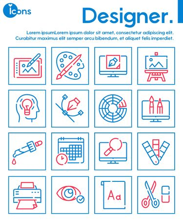 Graphic design studio color linear icons set. Painting and drawing hobby, print shop service contour symbols. Traditional and modern artist accessories outline vector illustrations pack 일러스트