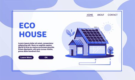 Eco house. Cartoon vector flat illustration. Renewable energy. Eco-friendly architecture. Village life. Global Warming, zero waste and Greenpeace concept