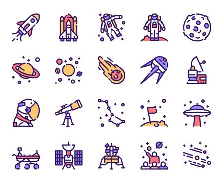 Outer space and universe color linear vector icons set 向量圖像