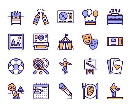Leisure linear color vector icons set