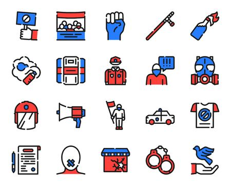 Protests items color linear icons set