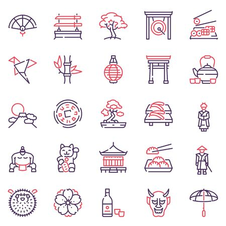 Japan items color linear icons set