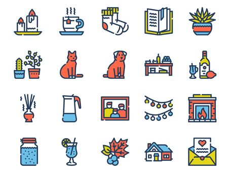 Hygge color linear icons set