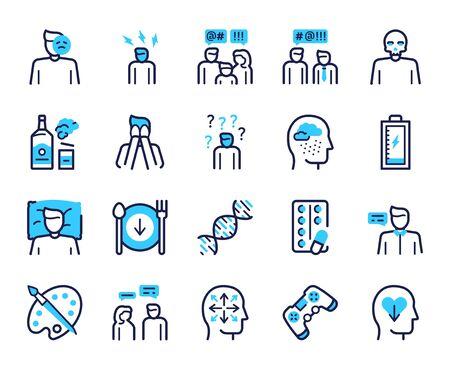 Depression symptoms blue linear vector icons set. Emotional burnout, nervous tension, fatigue signs. Alcohol abuse, apathy, lack of appetite contour symbols. Frustration, sadness outline illustrations Ilustracje wektorowe
