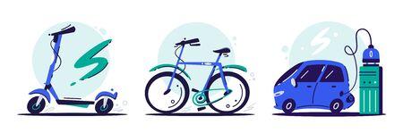 Illustrations de couleurs vectorielles à plat de transport écologique. Scooter électrique et vélo isolé sur fond blanc. Moyens de transport urbains écologiques. Vélo bleu de dessin animé, éléments de conception de scooter de coup de pied