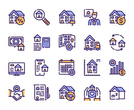 Real estate linear color vector icons set. House for rent and sale blue contour symbols. Moving, home renovation, realtor, mortgage. Commercial property outline illustrations collection