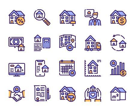 Zestaw ikon wektorowych liniowy kolor nieruchomości. Dom do wynajęcia i sprzedaży niebieskie symbole konturu. Przeprowadzka, remont domu, pośrednik w obrocie nieruchomościami, kredyt hipoteczny. Kolekcja ilustracji zarysów nieruchomości komercyjnych