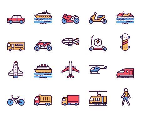 Ensemble d'icônes vectorielles de couleur linéaire de types de transport. Voiture, moto, symboles de contour de scooter. Modes de transport en commun. Bus, avion, bateau. Moyens de transport. Collection d'illustrations de contour de véhicules