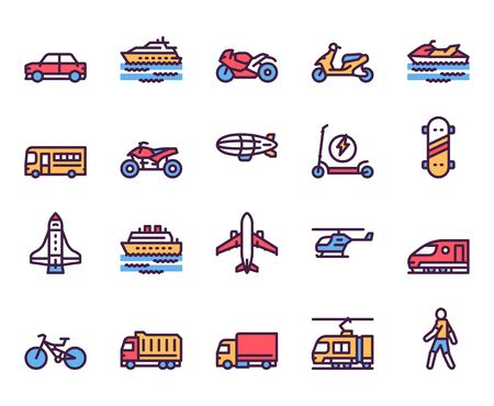 Set di icone vettoriali colore lineare di tipi di trasporto. Simboli di contorno auto, moto, scooter. Modalità di trasporto pubblico. Autobus, aereo, nave. Mezzi di trasporto. Raccolta di illustrazioni di contorno di veicoli