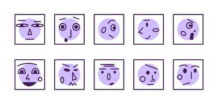 Insieme di volti ed emozioni lineari. Illustrazione vettoriale piatto. Collezione di icone. Emoji astratta. Avatar o loghi di linea minimali.