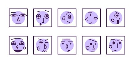 Set of linear faces and emotions. Flat vector illustration. Icon collection. Abstract emoji. Minimal line avatars or logos.