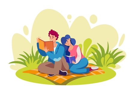 Books reading flat vector illustrations set. Literature lovers. Men and women enjoying novel, studying together. Students learning and reading textbooks cartoon characters isolated on white background Çizim