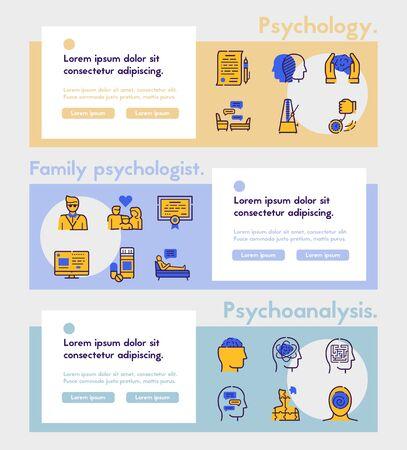 Psychologie-Elemente Farbe lineare Symbole gesetzt. Konzept der Psychotherapie. Symbole für medizinische Geräte. Hypnose, Medizin, Behandlung. Designelemente für psychische Gesundheit. Isolierte Vektorillustrationen Vektorgrafik