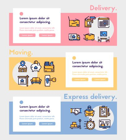 Moving items color linear icons set. Relocation concept. Cardboard boxes symbols pack. Express delivery service, renovating, logistics company. New home design elements. Isolated vector illustrations