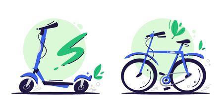 Ilustraciones de color de vector plano de transporte ecológico. Scooter eléctrico y bicicleta aislado sobre fondo blanco. Medios de transporte urbano ecológico. Bicicleta azul de dibujos animados, elementos de diseño de patinete
