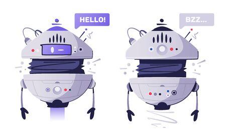 Modern drone assistant flat vector illustration. Cartoon robotic helper. AI machine. Futuristic cyborg. Tech and future.