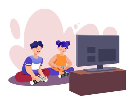 Playing games flat vector illustrations set. Virtual reality entertainment, video and computer games. Weekend activities. Boy in VR glasses, couple with joysticks cartoon characters isolated on white Çizim