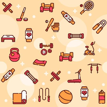 Sport equipment linear color vector icons set