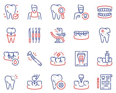 Dental care color linear vector icons set. Dentistry outline symbols. Dentist, medical tools, braces, dental crown. Toothache, cavity, gums bleeding treatment. Stomatology items contour illustrations Illusztráció
