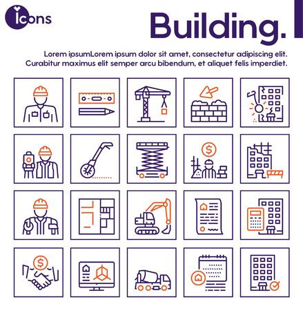 Construction industry color linear vector icons set 矢量图像