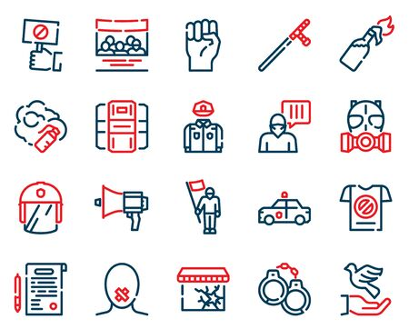 Protests items color linear icons set. Riot concept. Civil uprising symbols pack. Police uniform design elements. Handcuffs, mask, loudspeaker. Resistance. Isolated vector illustrations