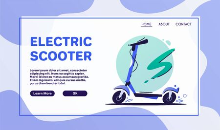 Eco transport flat vector color illustrations. Electric scooter and bicycle isolated on white background. Ecological urban transportation means. Cartoon blue bike, kick scooter design elements