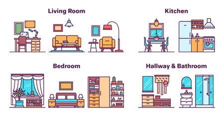 House rooms types color icons vector set. Home interiors and decor collection. Kitchen, bathroom, living and dining rooms, hallway furnishing. Apartment furniture illustrations with outline Ilustrace