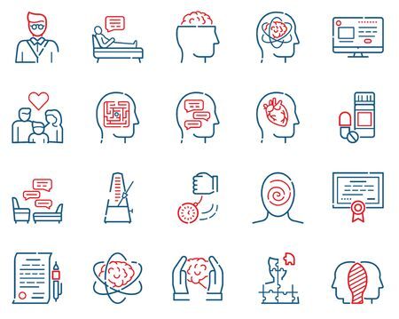 Psychology items color linear icons set. Psychotherapy concept. Medical equipment symbols pack. Hypnosis, medicine, treatment. Mental health design elements. Isolated vector illustrations