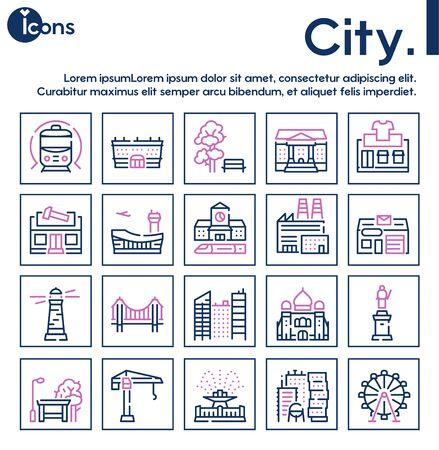 City locations color linear icons vector set Ilustração