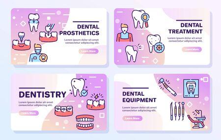 Ensemble d'icônes vectorielles linéaires de couleur de soins dentaires