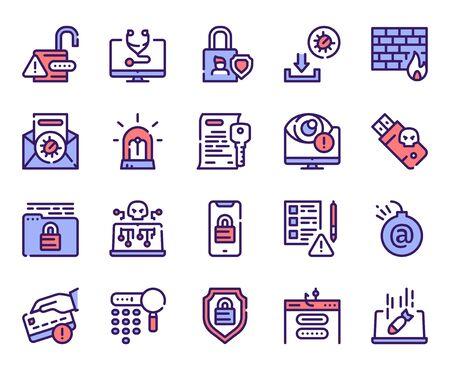 Cybersecurity linear color vector icons set Illusztráció