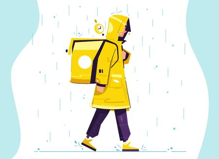Walking delivery guy. Character design. Cartoon vector illustration. Fast shipping. Courier with backpack.