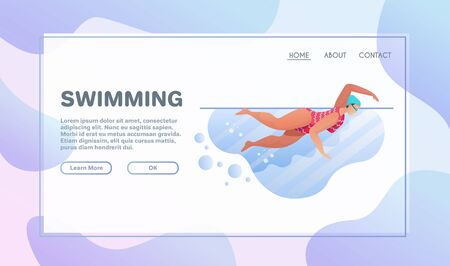 Sport activities flat illustration. Sportsman cartoon character. Swimming concept. Pool training. Active lifestyle concept Иллюстрация