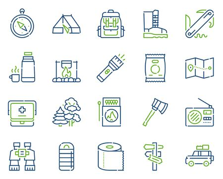 Camping hobby color linear icons set. Active outdoor recreation, wanderlust contour symbols. Landscape tourism accessories. Hiking, backpacking equipment outline vector illustrations pack