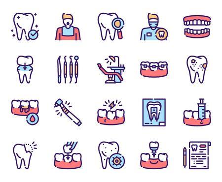 Dental care color linear vector icons set. Dentistry outline symbols. Dentist, medical tools, braces, dental crown. Toothache, cavity, gums bleeding treatment. Stomatology items contour illustrations Ilustração