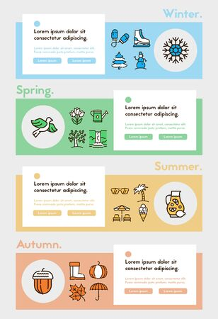 Seasons items color linear icons set. Winter, spring, summer and autumn concept. Different seasonal activities symbols pack. Nature and weather design elements. Isolated vector illustrations Foto de archivo - 138280490
