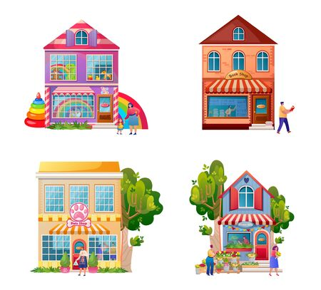 Shops facades flat vector colorful illustrations set. Bookstore, toys, pets and flowers stores. Cute commercial buildings exteriors isolated on white. Cartoon street local shops and buyers characters Reklamní fotografie - 138282304