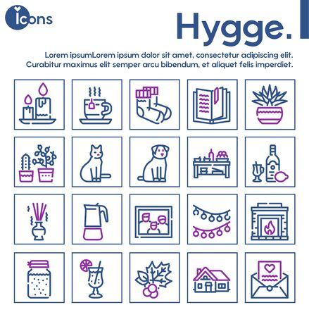 Hygge color linear icons set. Cozy atmosphere and feeling of comfort contour symbols pack. Hot drinks, candles, domestic pets and home rest accessories outline vector illustrations pack Ilustração