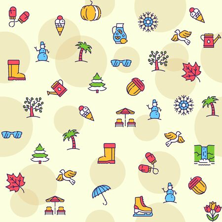 Seasons items color linear icons set. Winter, spring, summer and autumn concept. Different seasonal activities symbols pack. Nature and weather design elements. Isolated vector illustrations Foto de archivo - 138281079