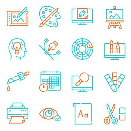 Graphic design studio color linear icons set. Painting and drawing hobby, print shop service contour symbols. Traditional and modern artist accessories outline vector illustrations pack Ilustrace