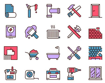 Home renovation and repair color linear icons set. Construction tools contour symbol. Building maintenance. Plumbing, brickwork, roofing. House restoration vector outline illustrations collection