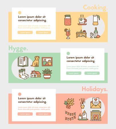 Hygge color linear icons set. Cozy atmosphere and feeling of comfort contour symbols pack. Hot drinks, candles, domestic pets and home rest accessories outline vector illustrations pack Ilustrace