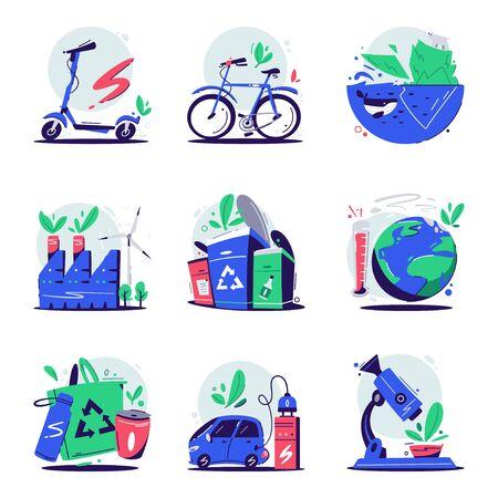 Concepto ecológico. Ilustración vectorial de dibujos animados. Conjunto de iconos o logotipos de ecología. Seguridad del planeta. Calentamiento global