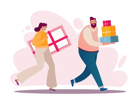 Customers flat vector characters. Shopper buying presents. People doing shopping, making orders. Men and women with gifts boxes, shopping bags. Consumerism concepts. Shopaholics cartoon illustrations Archivio Fotografico - 138292452